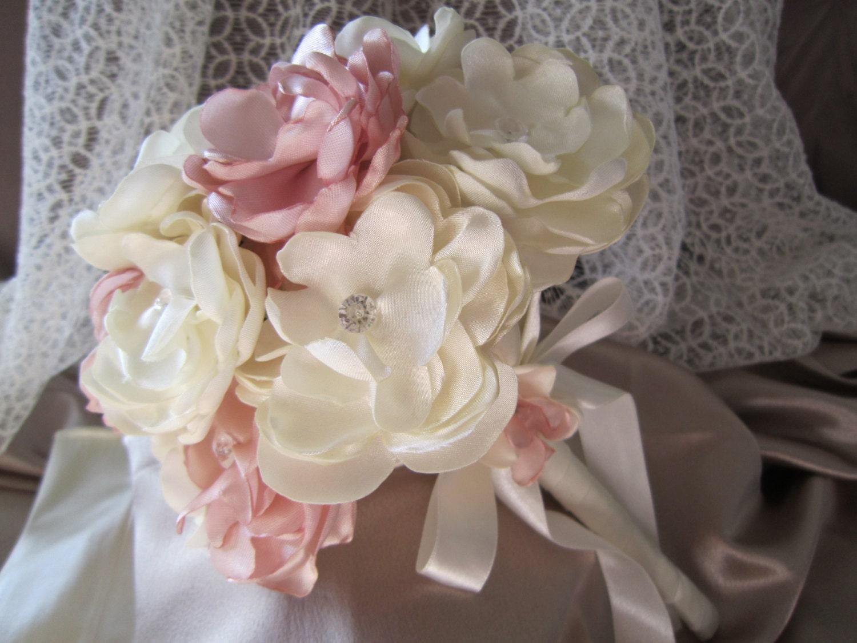 Wedding Bouquet Ivoryblush Wedding Bouquet Fabric Flower