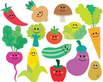 Vegetables - Clipart & Vector Set - Instant Download - Personal and Commercial Use - New Characters