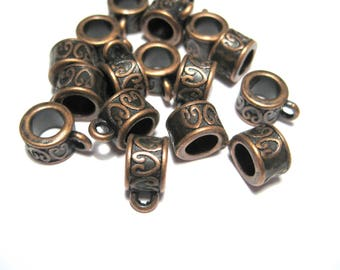 Antique Copper Bails Beads European Charm Style Bail