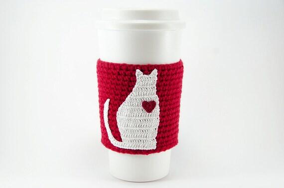 Crochet cat applique pattern diy crochet cup sleeve crochet crochet cat applique pattern diy crochet cup sleeve crochet coffee cozy digital download dt1010fo