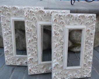 Shabby White Frame - Carved Wood Frame - Ornate Vintage Frame - Painted White Frame - Rectangular Frame