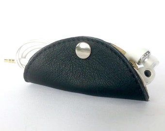 Cordelia Cord Wrap:  Two-tone leather wrap in Black with Butter