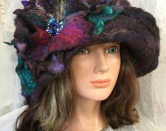 Felted warm winter hat wearable art  felted  wool hat