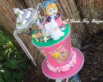 Alice in Wonderland Art Doll Sculpture Tea Party Found Object Sculpture Whimsical Nursery Art  Lorelie Kay Original