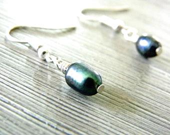 Black Freshwater Pearl Earrings Dangle Earrings