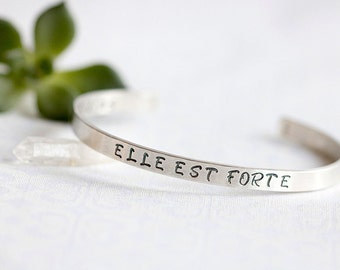 ELLE EST FORTE, She is Strong, Proverbs 31, Hand Stamped Silver Cuff Bracelet, Religious Jewelry, Christian Jewelry, Bible Verse, Strength