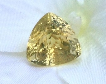 Large Champagne Beryl 4.55 Carat 11x11mm Triangle Natural Yellow Gemstone