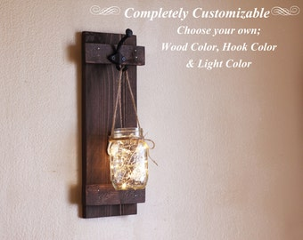Mason Jar Wall Sconce, Wall Decor, Lighted Sconce, Wall Hanging, Rustic Gifts, Customizable, Single Wall Sconces, Hanging Mason Jar
