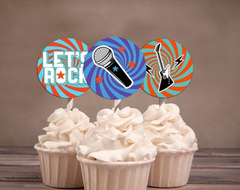 """Cupcake toppers """"ROCKSTAR"""" birthday party, party decorations, party supplies, rockstar, rockstar theme, Rockstar Baby shower, printable"""
