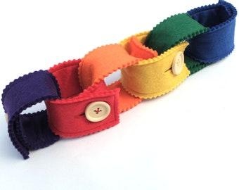 Rainbow felt button chain, felt fabric chain, busy bag, hook and loop chain, snaps chain, fidget toy, montessori learning
