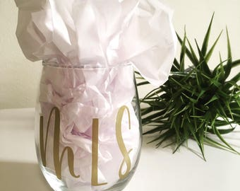 Personalized Wine Glass, Personalized Gift, Initials, Stemless Wine Glass, Wine Glass, Wine Lover