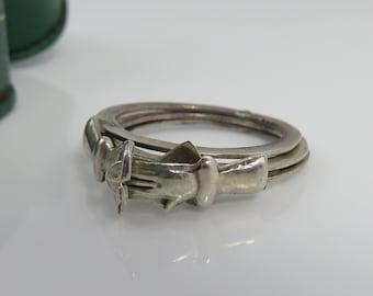 Antique Estate Sterling Silver Fede Gimmel Lovers Betrothal  Wedding Ring