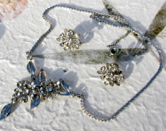 B.N. Bugbee and Niles Rhinestone Flower Necklace Set