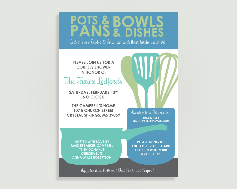 Kitchen Shower Bridal Shower Invitation with Recipe Card