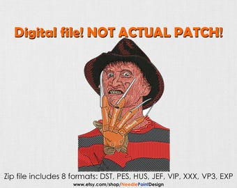 INSTANT DOWNLOAD - Freddy machine embroidery design. Horror. Halloween. Embroidery file