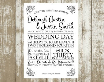 Printable Customized Wedding Invitations, 5x7, Typography