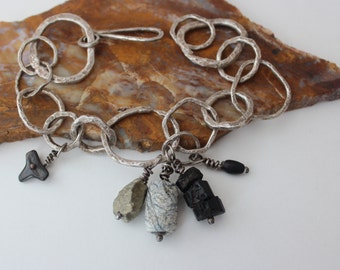 Organic Silver Charm Bracelet with Fossil Shark Tooth, Ancient Bead, Ancient Glass Bead, Pyrite Nugget and Raw Black Tourmaline