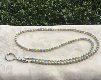 Swarovski Pastel Pearls Lanyard Necklace ID Badge Holder
