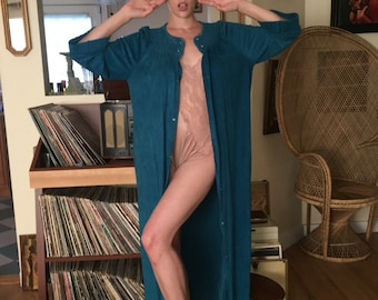 Vintage womens robe 60s 70s 80s acetate polyester house coat