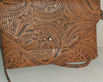 Vintage hand tooled leather crossbody bag with credit card storage