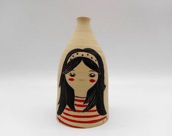 Ceramic vase with a little boy / / Vase in stoneware with red sailor girl