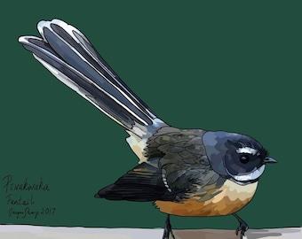 New Zealand Pīwakawaka (Fantail) bird on Black Photo Block, Digital Painting