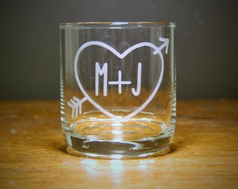 Personalized Heart and Initials Old Fashioned Whiskey/Lowball Glass