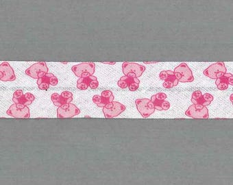 Bias Teddy Fuchsia meter, bear, 100% cotton