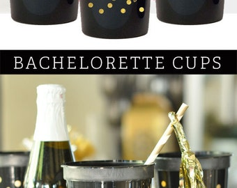 Bachelorette Party Decorations Bachelorette Party Cups Black and Gold Cheers Cups Elegant Bachelorette Party (EB3104CH) 25pcs CHEERS CUPS