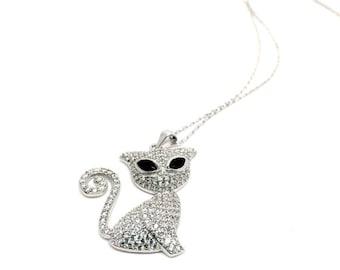 Joyera italiana etsy womens jewellery 925 sterling silver necklace cat pendant with cubic zirconia stones italian jewellery aloadofball Choice Image