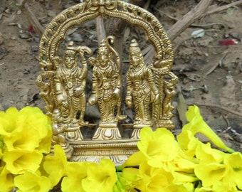 Brass Ram Darbar Statue, God Rama with his wife Sita and brother Laxmana along with Hanumana