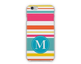 Case for iPhone 8, iPhone 6s,  iPhone 6 Plus,  iPhone 5s,  iPhone SE,  iPhone 5c,  iPhone 7,  Colourful Striped Monogram iPhone