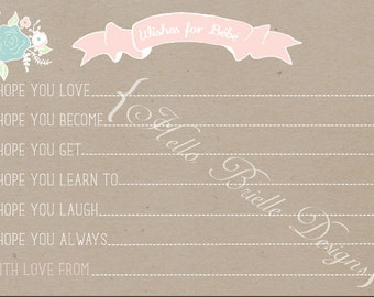 "Paris Bakery Printable Wishes for Baby 4x6"" Card"