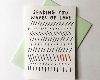 Sending You Waves of Love Greeting Card. Give Back. Love Card. Stationery. Hand Stitched Card.