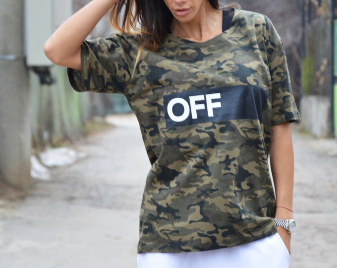 """Casual Camouflage """" Off """" Cotton Print T-shirt, Handmade Oversize T-shirt, Plus Size Loose Top by SSDfashion"""