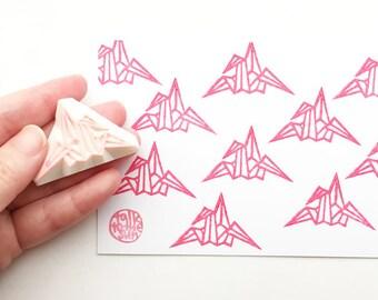 origami crane rubber stamp | japanese tsuru bird stamp | symbol of peace | diy wedding birthday card making | hand carved by talktothesun