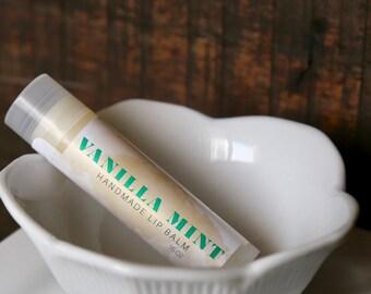 Vanilla Mint Lip Balm, Handmade in Alaska, Lip Gloss, Chapstick, Lip Butter, Lip Moisturizer, Pepperming, Gift for Her, Valentine's Day Gift