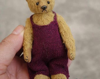 "Sprinkles, Miniature Viscose 3 3/4"" Artist Teddy Bear by Aerlinn Bears"