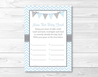 Name That Baby Food Game / Baby Food Guessing Game / Baby Shower Guessing Game / Chevron Pattern / Baby Blue & Grey / INSTANT DOWNLOAD A218