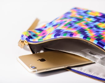 leather clutch, print clutch, zipper clutch, colorful clutch, rainbow clutch, boho clutch, pixel pattern, blue clutch, blue purse