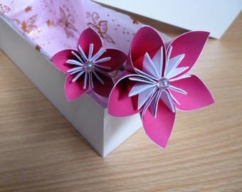 Paper flowers, origami flowers, hot pink, boxed flowers, gift set, paper flowers, anniversary gift, paper anniversary