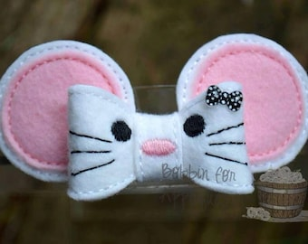 Cute Little Mouse Felt Bow Embellishment ITH In the Hoop Embroidery Design