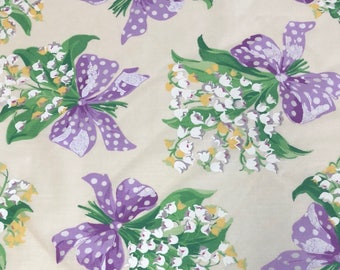 White Lily of the Valley Flower Bouqet POLISHED Cotton Fabric: POLY/COTTON blend   [[by the half yard]]