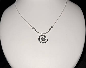 Delicate Sterling Silver Necklace with Swirl Charm