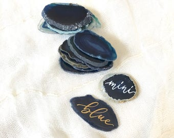 "MINI BLUE Agate Slices Wedding Calligraphy Place Cards 1.2""-2.5""| Escort Cards | Quartz | Gem | Gemstone | Natural Stone |Sliced Stone"