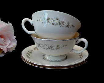 Lenox Brookdale Tea Cup and Saucer TWO SETS Platinum Trim, Brookdale Lenox Tea Cups (IB)