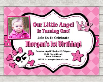 Little Angel Birthday Invitation, Rebel Birthday Invitation, Girl 1st Birthday - Digital File (Printing Services Available)