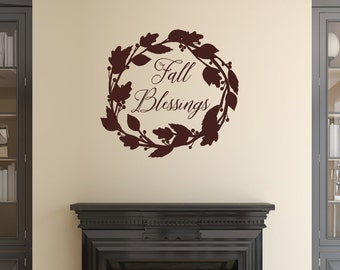Fall Blessings Decal | Wreath Wall Decal | Vinyl Wall Decal  | Autumn Decorations | Fall Home Decor | Fall Decal | Autumn Decor | 22589