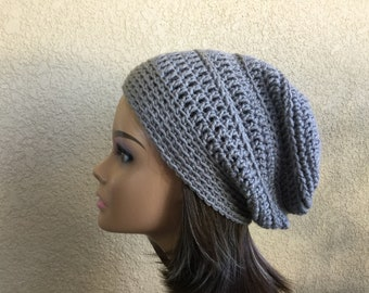 Gray Slouchy Beanie, Teen or adult slouchy hat, Woman's Trendy  Beanie,  Grey Tam, hipster hat, boho slouchy