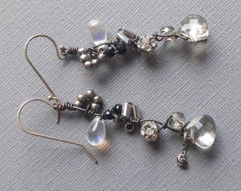 Black Beaded Earrings, Woven Drop Earrings, Edgy Urban, Unique Hanging Earrings, Abstract, Dressy Earrings, Birthday Anniversary Gift Wife